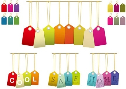 sales tags collection hanging colorful style
