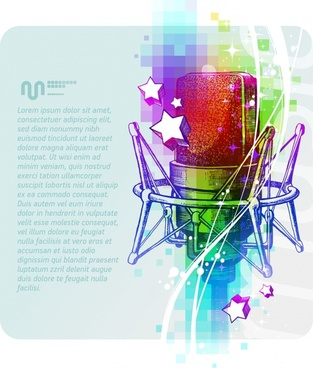 music background template microphone sketch colorful dynamic sketch