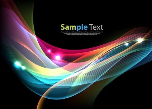 colorful waves on dark background vector illustration