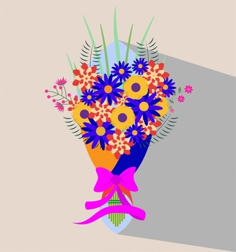 colorful wedding flower vector illustration in flat style