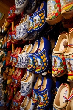 colorful wooden clogs