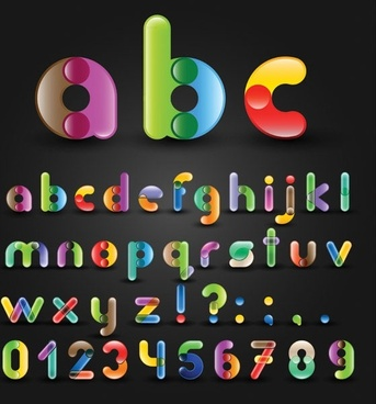 alphabet icons background colorful words numbers decoration