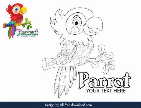 coloring book design element handdrawn parrot sketch