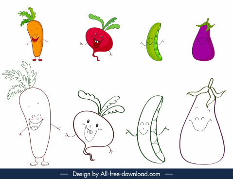 coloring book design elements stylized funny fruits sketch