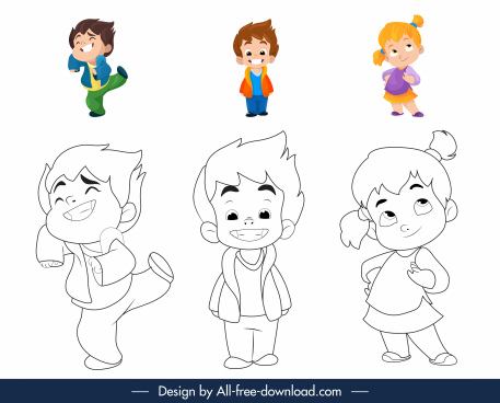 coloring book elements childhood characters cartoon design
