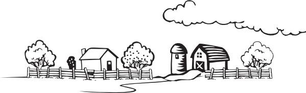 Coloring Book Farm Landscape clip art