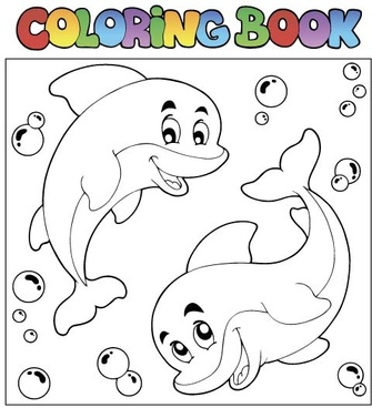 coloring picture sea world vector template