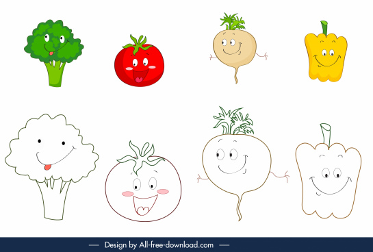 coloring plants book design elements funny stylized sketch