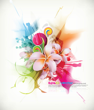 colors floral object vector backgrounds