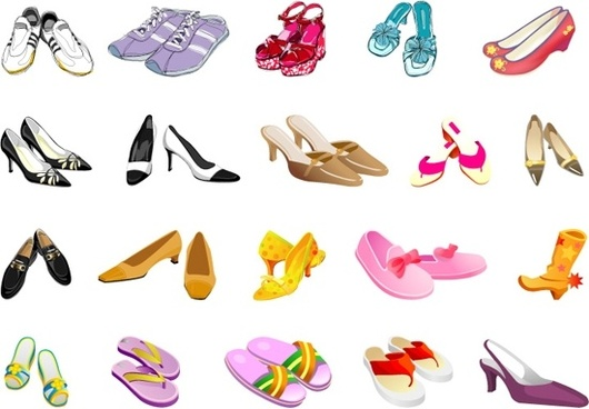 foot wears icons collection various colored types