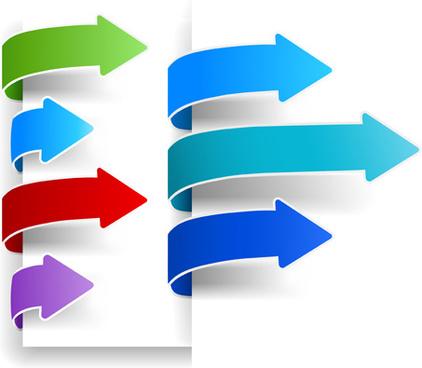 colour arrows bookmarks vector graphics