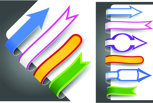 colour bookmarks with arrow vector graphics