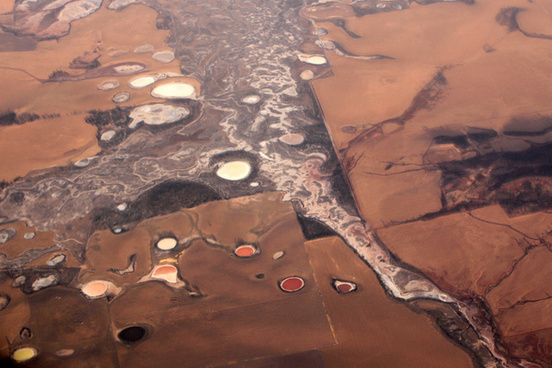 coloured salt lakes western australia from the air
