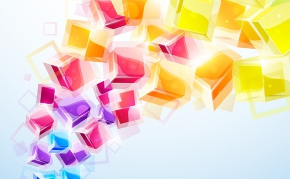 colorful 3d cubes background shiny objects decoration