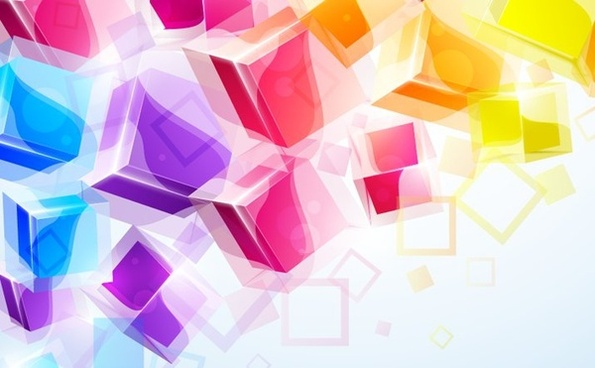 abstract background colorful 3d cubes icons