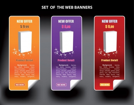web banners templates modern colored vertical design