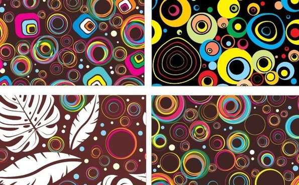 abstract pattern background sets colorful circles leaves decoration