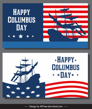 columbus day banner usa flag ancient ship silhouette
