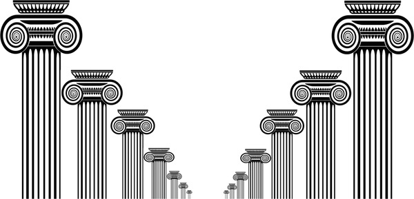 columns architecture vector illustration with black and white