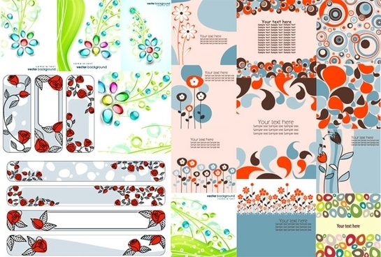 combination of 17 flower theme vector