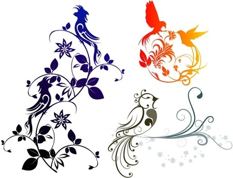 combination of exquisite bird pattern vector