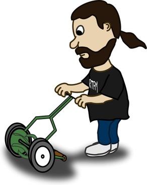 Comic characters: Guy pushing reel mower