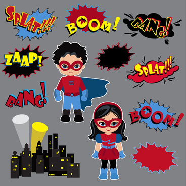 comic characters with speech bubbles vector
