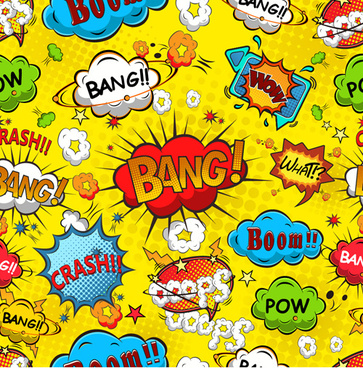 comic explosion speech bubbles vector seamless pattern