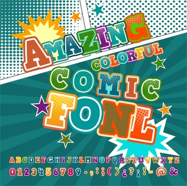 comic fonts banner design with colorful dynamic style