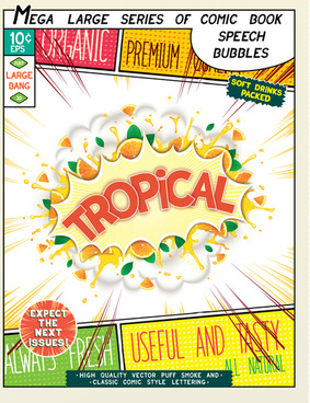 comic style explosion fruit effect vector