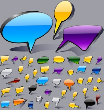 speech bubble templates shiny colored modern shapes