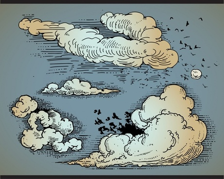 comic style vector clouds