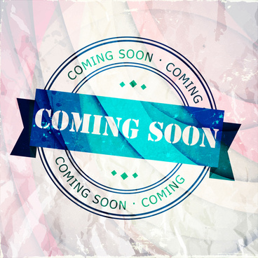 coming soon round stamp design on vignette background