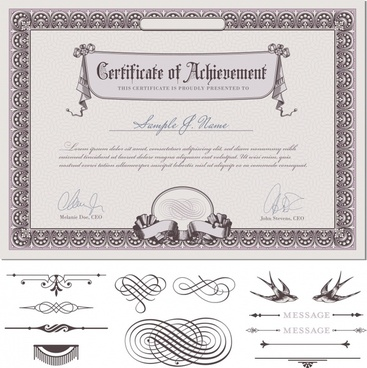 commendation certificate european pattern vector