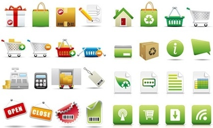 commerce icons collection various colored symbols design