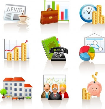 finance icons shiny colorful modern symbols sketch