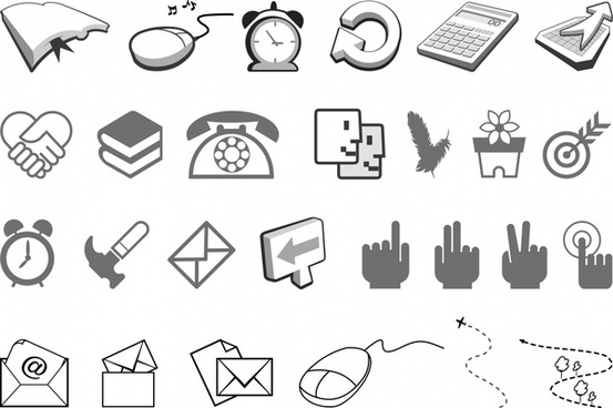 user interface icons collection black white 3d sketch