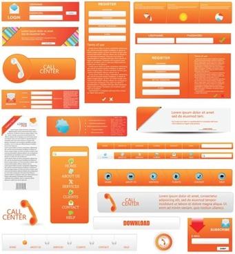 webpage design elements modern flat orange decor