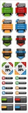 commerce web decor elements colorful modern shapes
