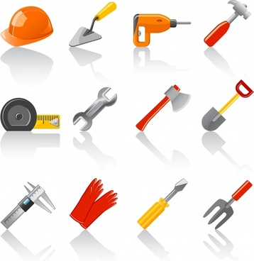industry tools icons modern colored 3d design