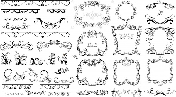 frame design elements black white classical symmetric curves