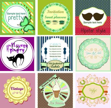 common vintage labels vector set