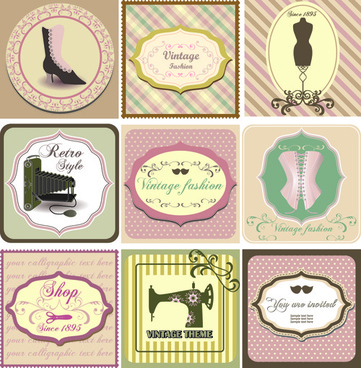 common vintage labels vector set