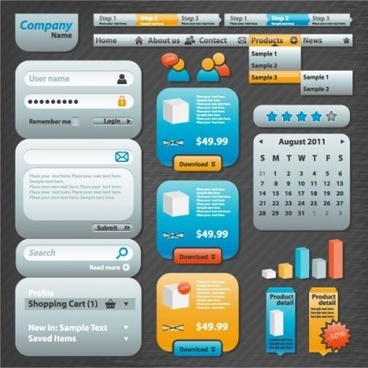 common web design kit vector
