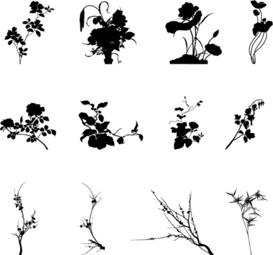 commonly plants silhouettes vector graphics