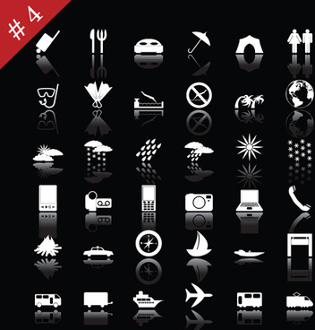commonly white web icon vector set