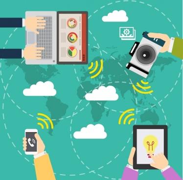 communication demand background digital equipment icons decoration