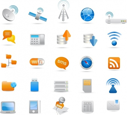 media icons sets modern colored symbols sketch