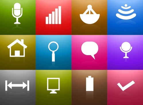 communication reflection icons colorful vector illustration