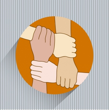 community combination banner holding hands icon round isolation